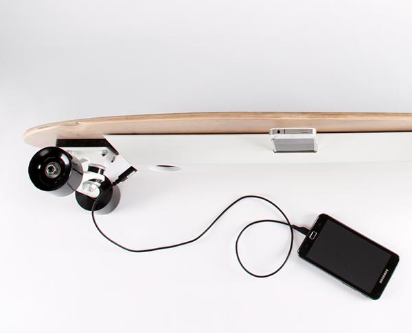 LONGBOARD chargeboard iphone dock product design longboard phonecharger