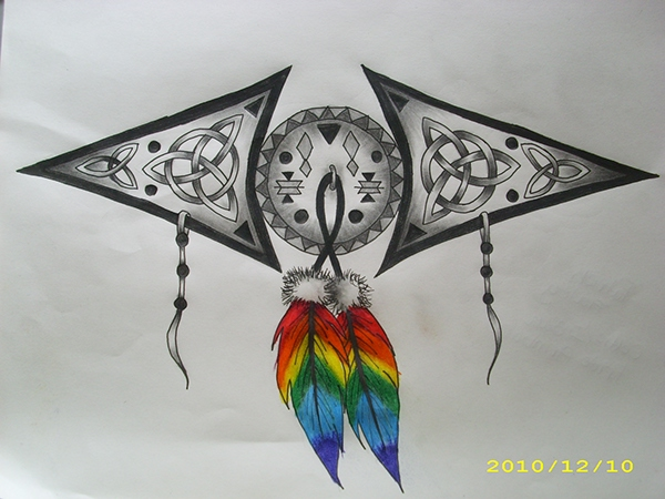 Designs inside it to show his irish pride the rainbow feathers