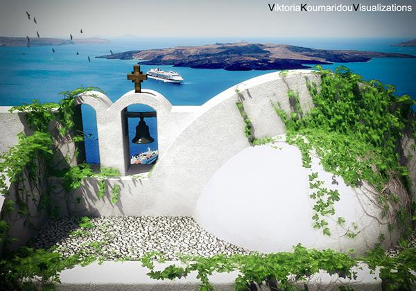 3ds max architectural visualization  vray  santorini