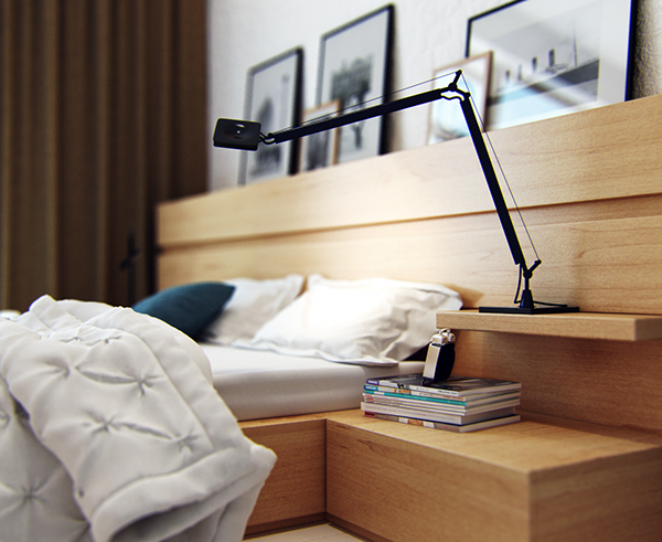 Scandinavian style apartment on behance - Bedside table that attaches to bed ...