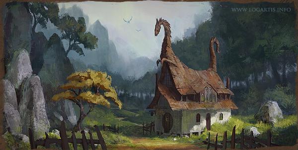 dragon inn Landscape cute house building grass Tree  forest fantasy