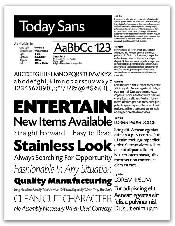 Typeface Specimen Sheet Font Specimen Sheet For Today