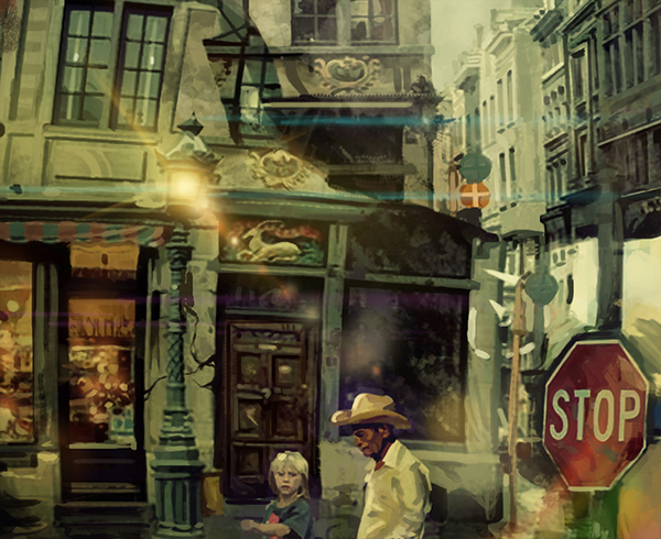 Street city people light effect Confusion lost experimental surreal