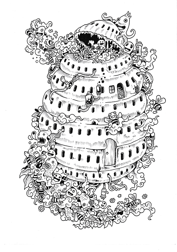 Doodle invasion coloring book on behance for Doodle coloring pages