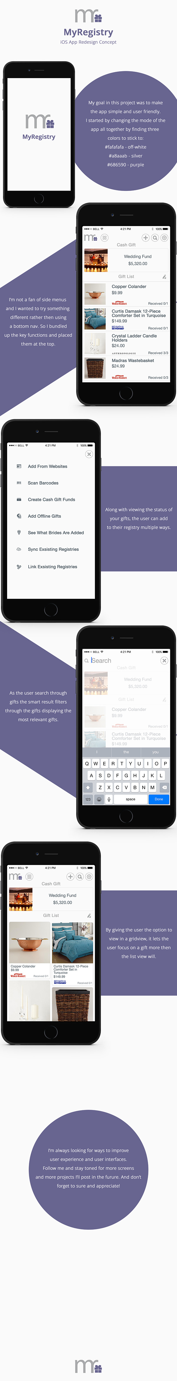 List View settings edit grid view search add ios8 icons gift registry app redesign