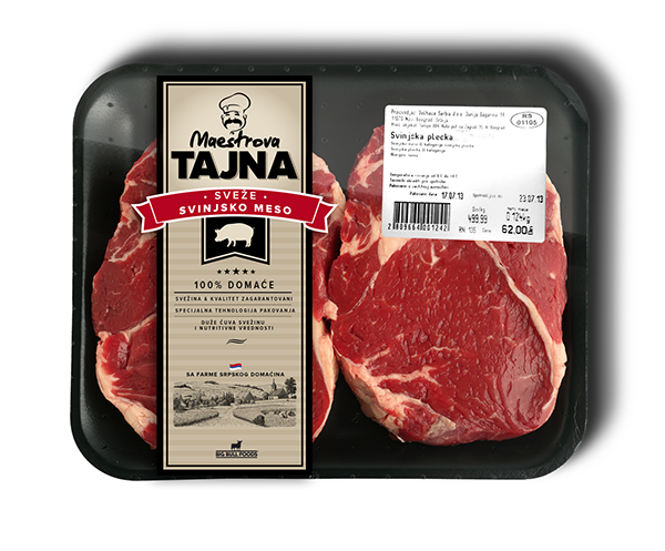 Proposal design meat big bull Serbia package Label typo