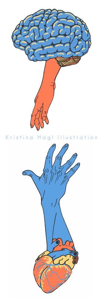 ILLUSTRATION  Editorial Illustration cover illustration brain heart Herz gehirn hands Minimalism minimalismus