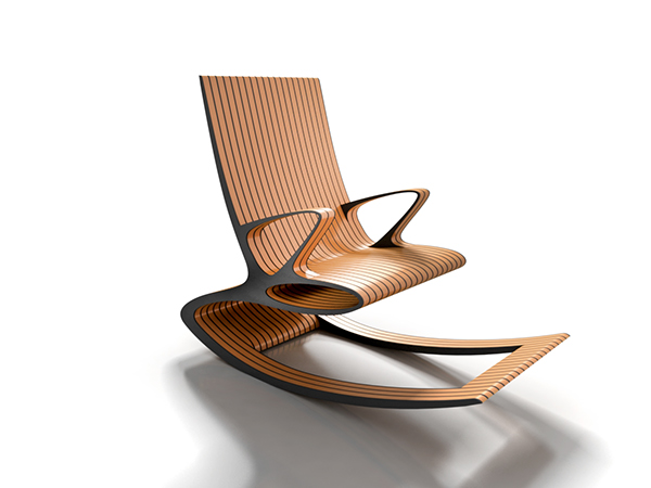 ... rocking chair with ergonomic lines composed of laminated wood stripes