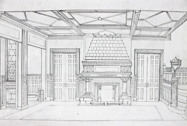 Technical hand drawings spring 2011 on philau portfolios - One point perspective drawing living room ...