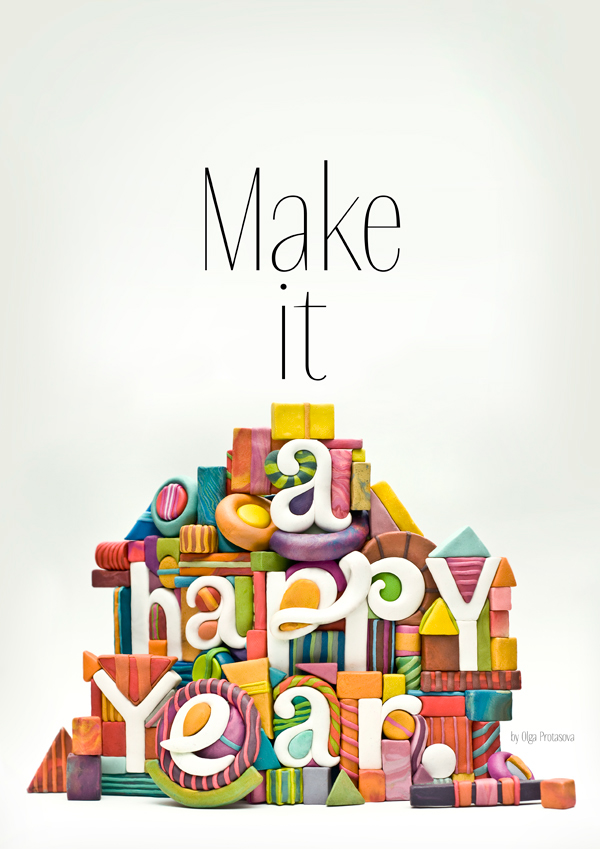new year postcard make it a happy year on behance