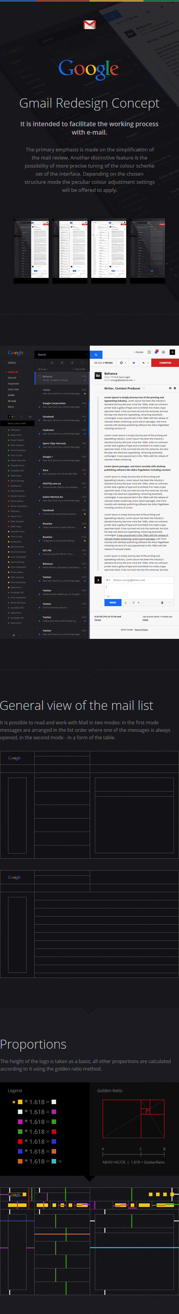 google GMail mail black White red Web UI ux Golden Ratio grid site webmail Email design