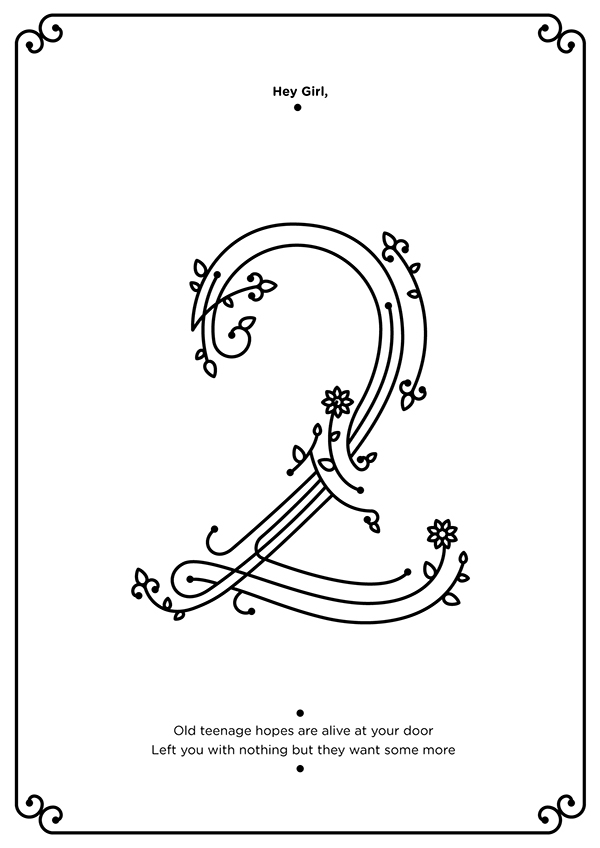 numbers Two three four six Eight nine zero lines Randy raharja fonts Love valentine