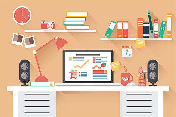 Flat Design Office Desk 02 On Behance