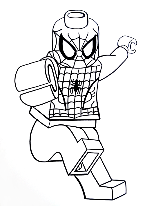 Lego Spider Man Drawing Sketch Coloring Page