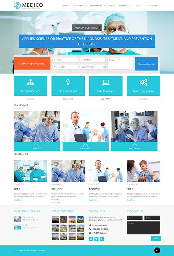 Medico - Medical & Health WordPress Theme on Behance