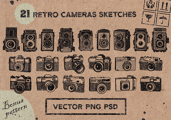 Camera Vintage Vector Png : Vintage cameras sketches. vol.2 on wacom gallery