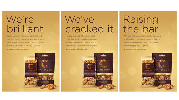 cambrook, caramelised nuts, Packaging, branding, identity, web design, logo design, print
