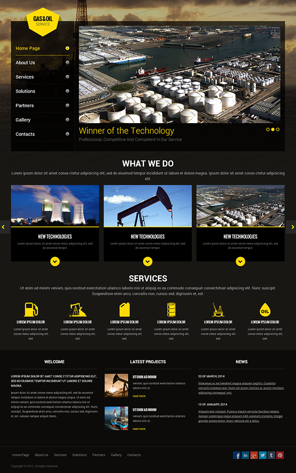 Gas and Oil HTML Template on Behance