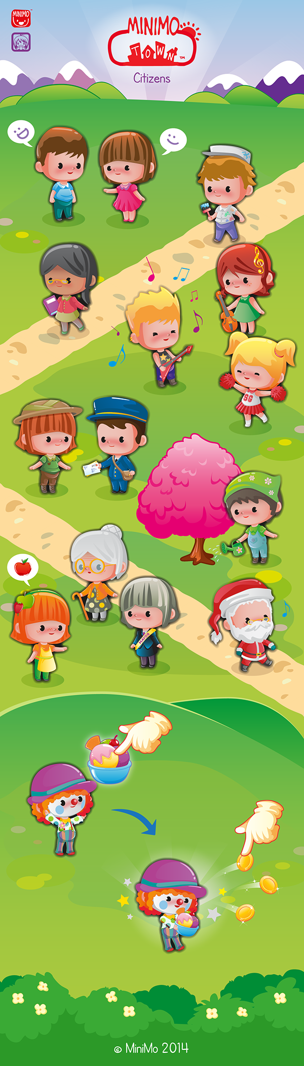 minimo town game citizens characters kids children Fun