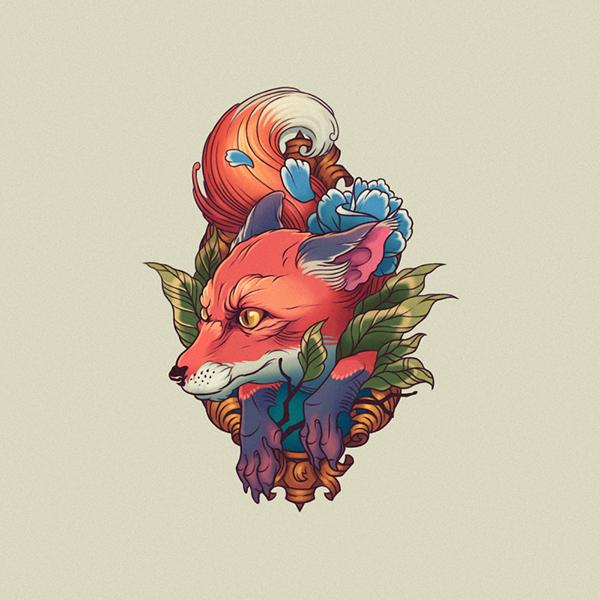 Tattoo fox on Behance