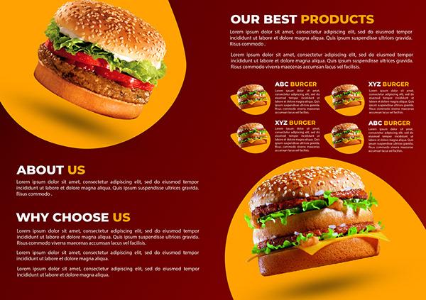 Food Flyer and Bi Fold Brochure Design