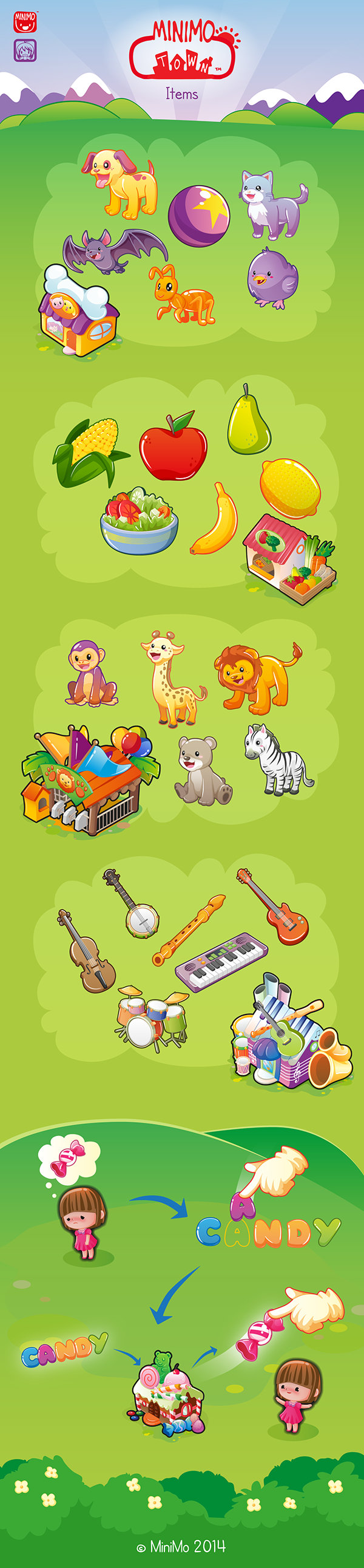 minimo town game children Items Game Assets colorful kids pets Music Instruments fruits