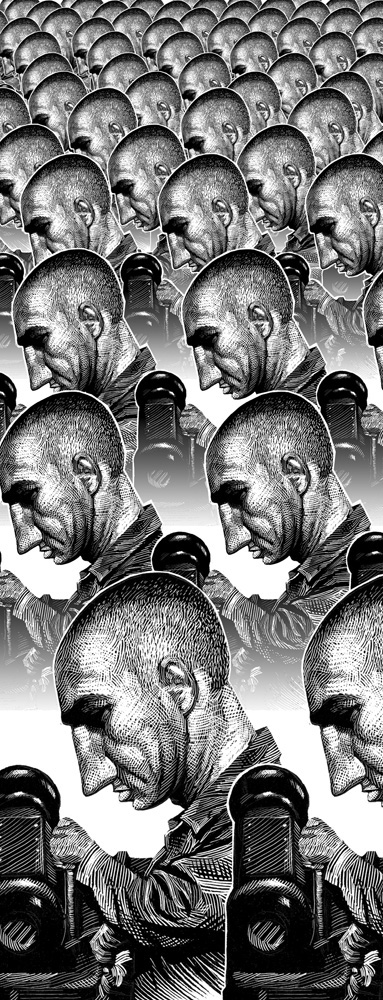 Editorial Illustration Ricardo Martinez scratchboard traditional people portraits conceptual