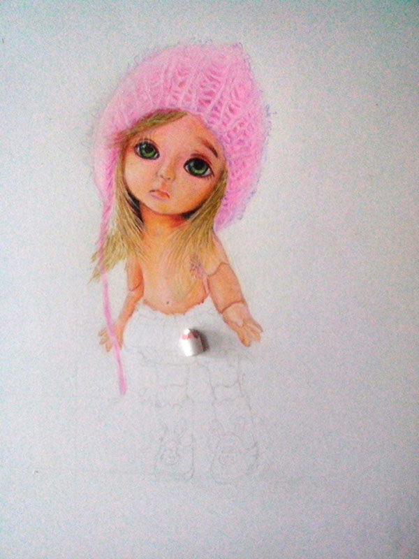 Baby Doll Pencil Drawing By Anil Ayyakutty On Pantone Canvas Gallery