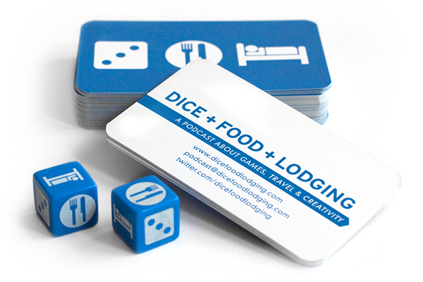 business card podcast game dice