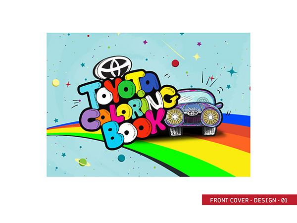 Toyota Coloring Book Cover Advertising Graphic Design Illustration