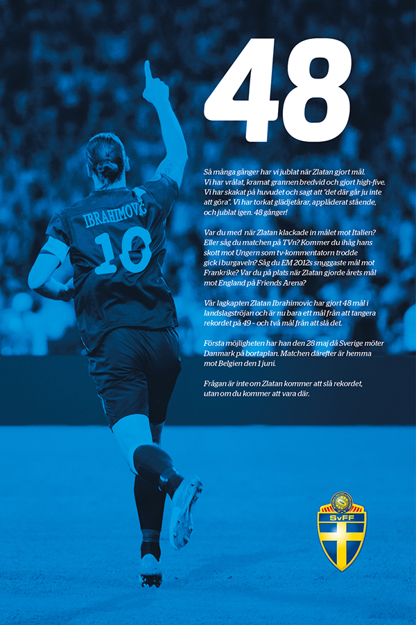 SvFF Svenska Fotbollförbundet zlatan ibrahimovic ibra record fotboll football soccer advert