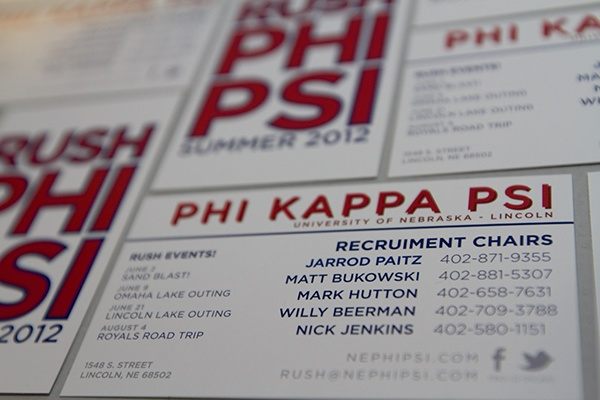 Fraternity recruitment identity on behance designed brochures business cards and tshirts for phi kappa psi fraternity 2012 summer recruitment colourmoves