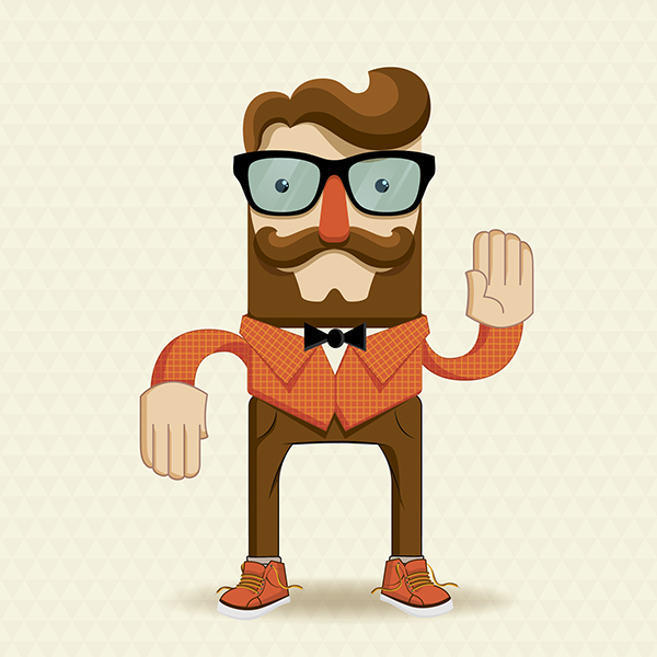 Character Design Illustration : Hipster character illustration with elements on
