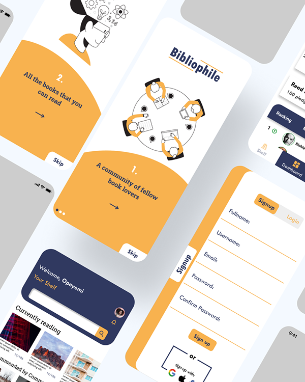 Bibliophile - UI design for a book reading app.