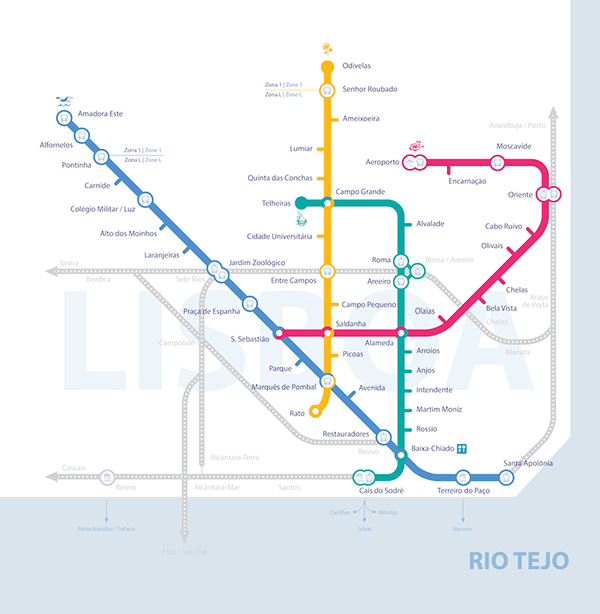 Metro Lisboa Simplified Map On Behance