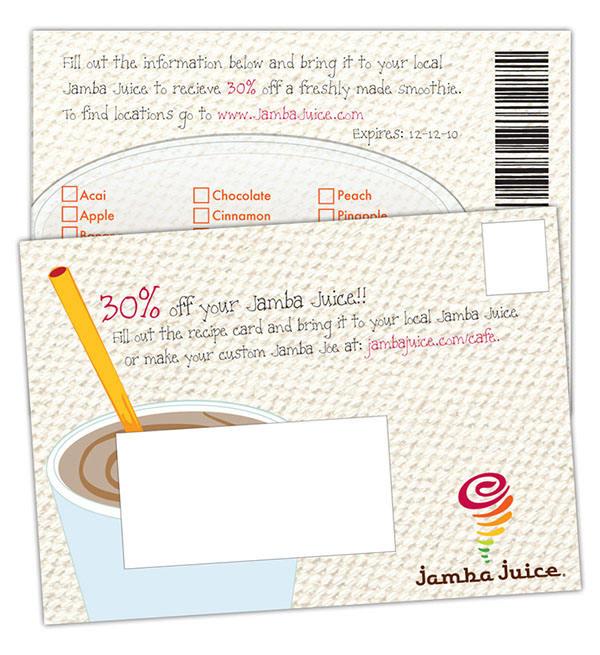 jamba juice marketing plan The solution our marketing experts recommended a cost-effective postcard mailing that would inform nearby residents that there was a new jamba juice open in their neighborhood.