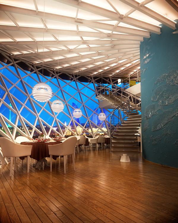 Seafood restaurant interior on behance