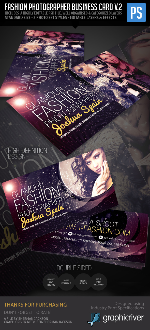 Creative Fashion Photographer Business Card PSD on Behance