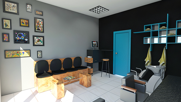 male hair salon-interior design on Behance