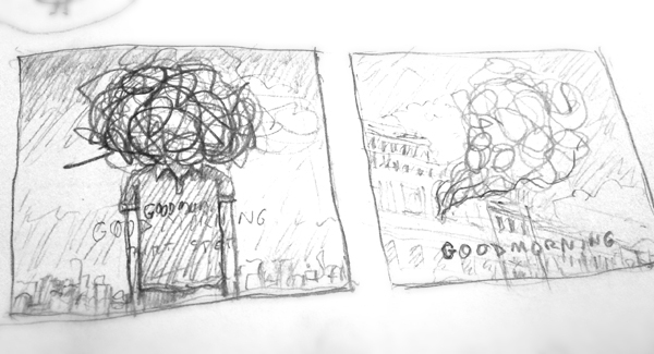 CD cover cover hand drawing pencil sketches city New York Sunrise DAWN