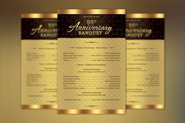 church anniversary one sheet program template on behance