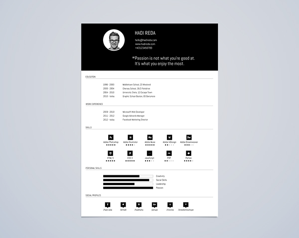 cv resume template din a4 free psd on behance