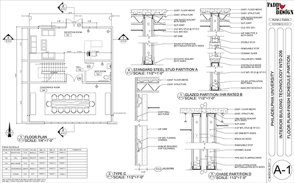 Floor Elevation Drawings : Construction documents for a commercial office space on