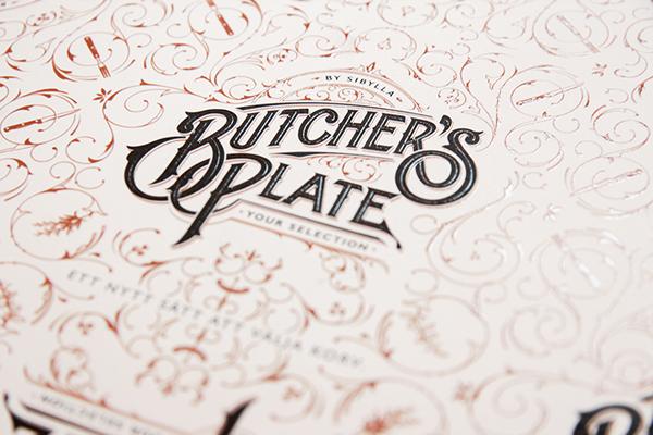 Martin schmetzer Logotype logo pattern butcher's plate restaurant type handdrawn ornate lettering sibylla