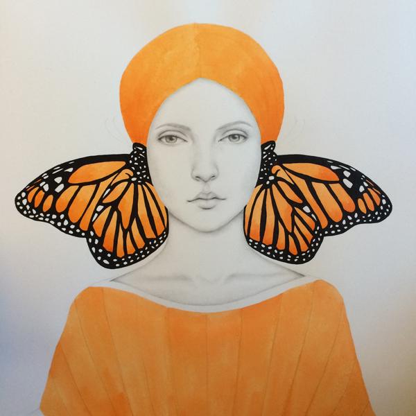 portrait art orange butterfly woman female lines dots