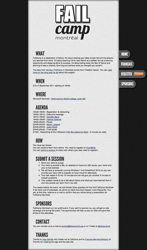 design  web design integration css HTML jquery fail fail camp montréal Event volunteer Bénévole