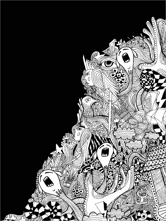psychedelic black White gray hand house Elano mumolabs hand drawing