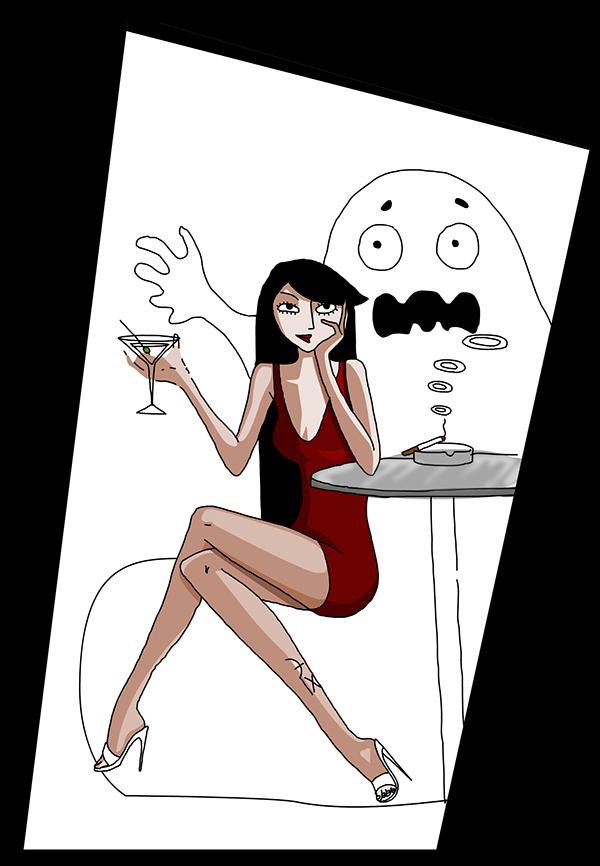ghost  smoke  smoking  DRINK  cocktail  girl pattern monster dark