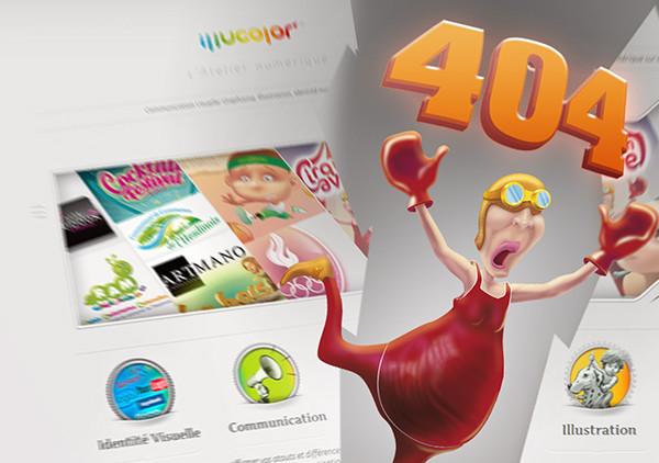 404 page Illustrator error 404 illucolor draw Webdesign illucolor.fr characters illu broken link