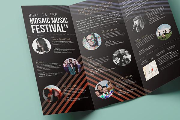 Mosaic music festival 14 39 brochure ticket on student show for Festival brochure design